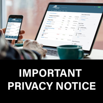 Image of computer screen and cell phone with text Important Privacy Notice.