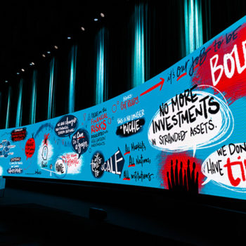 Graphic mural wall from 2019 GABV Summit.