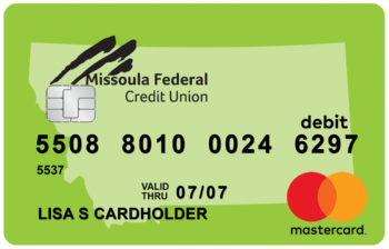 Picture of a Clearwater green debit card.