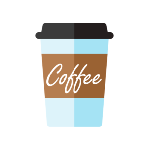 Graphic image of to-go coffee cup.