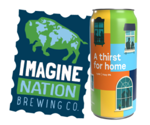 """Image of Imagine Nation Brewing Co. logo and the """"A Thirst for Home"""" can."""