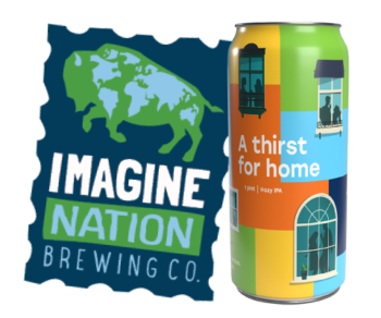 "Image of Imagine Nation Brewing Co. logo and the ""A Thirst for Home"" can."