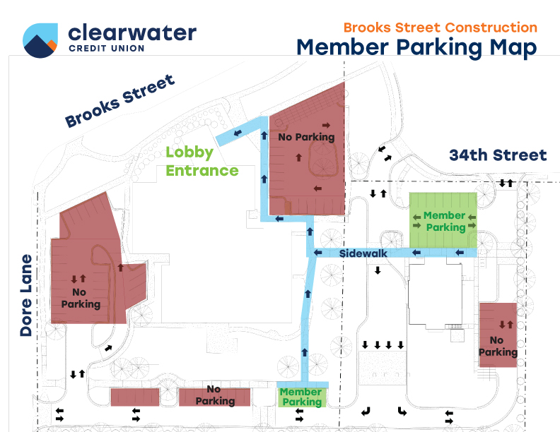 Map of parking lots at Brooks Street location.