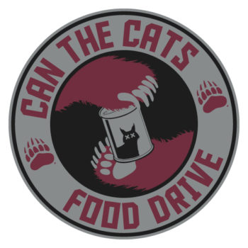 Logo of Can the Cats Food Drive with bear paws holding a can of food.