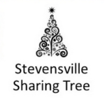 Graphic of a Christmas Tree with the words 'Stevensville Sharing Tree' underneath.