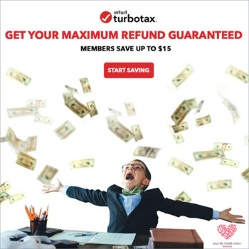 "TurboTax logo with image of boy throwing money in the air, text of ""Members save up to $15""."