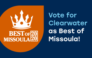 Graphic with Best of Missoula logo and words 'Vote for Clearwater as Best of Missoula!