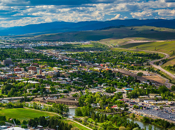 View of Missoula from Mount Sentinel, in Missoula, Montana.