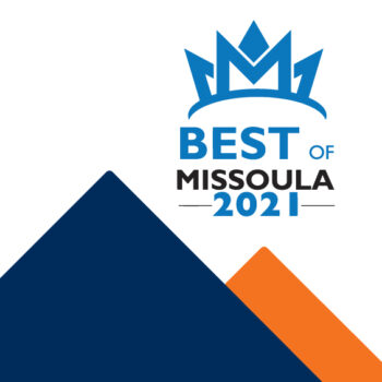 Graphic of Clearwater logo mountains and the Best of Missoula 2021 logo.