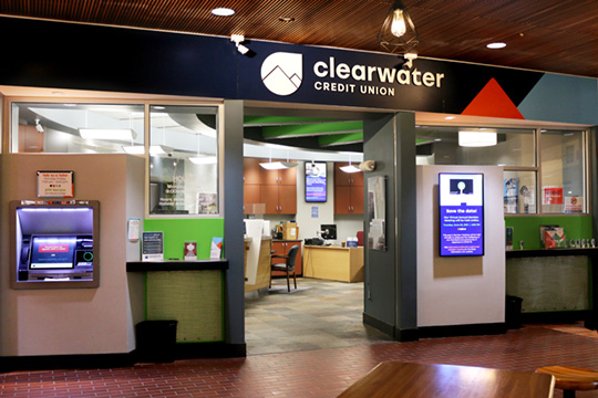 Photo of the University of Montana Clearwater Credit Union Branch located in the University Center.